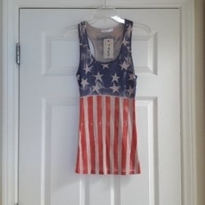 T Party Vintage Stars & Stripes Ribbed Tank Top